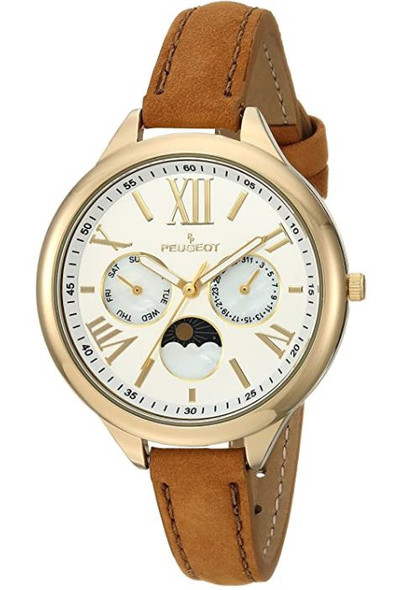 Watch Peugeot Women's 14K Gold Plated Suede Strap Brown