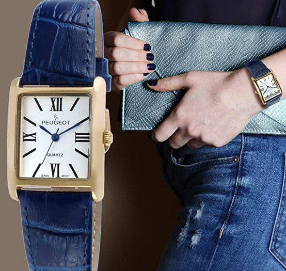 Watch Women's Peugeot 14K Gold Plated Leather Roman Numerals Dial Navy