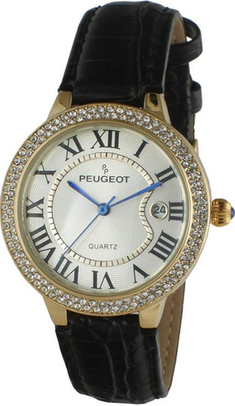 Watch Women's Peugeot 14K Gold plated round, with Roman Numerals, Calendar & Leather Band