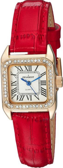 Watch Women's Peugeot 14K Gold-Plated Crystal Bezel Roman Numeral Red Leather Band