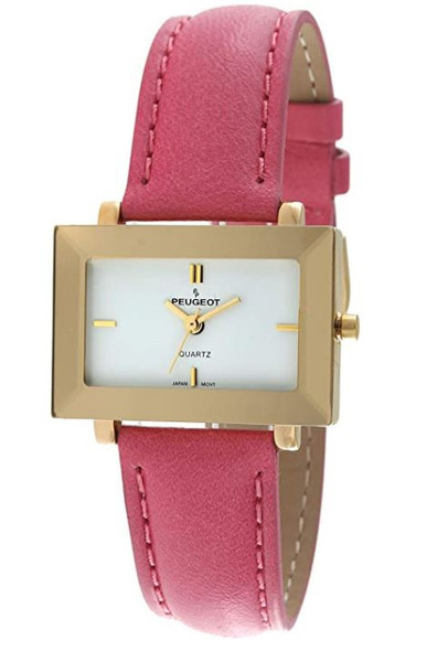 Watch Women's Peugeot 14KT Gold Plated Rectangular Faceted Mirror Edged Glass Bezel, Leather Strap