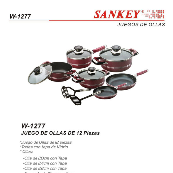 POT SET 12PCS SANKEY W-1277 NON STICK