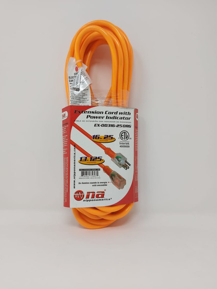 EXTENSION CORD OUTDOOR 25' EX-0D316-25 ORG ORANGE NA NIPPON AMERICA