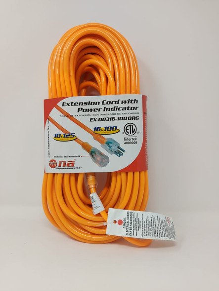 EXTENSION CORD OUTDOOR 100' EX-0D316-100 ORG ORANGE NA NIPPON AMERICA