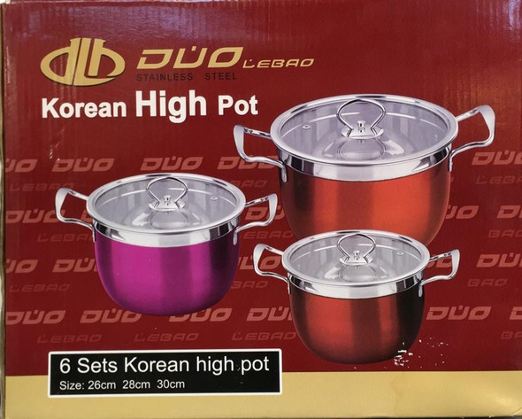 POT SET 3PCS DLB0406 WITH COVER KOREAN HIGH DUO