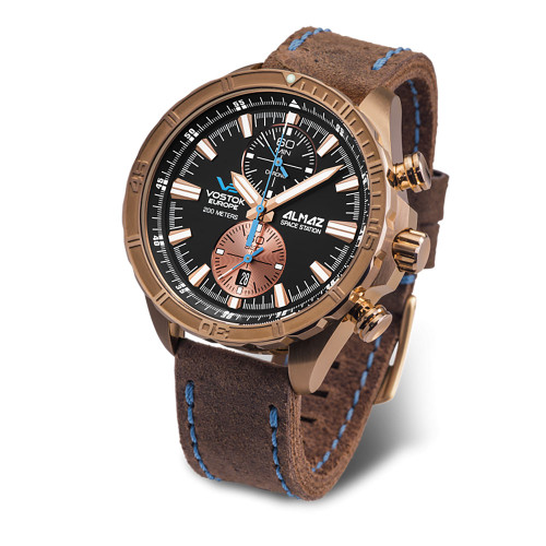 Vostok-Europe Almaz Bronze Chronograph Leather Strap 6S11/320O266