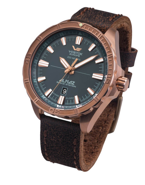 Vostok-Europe Almaz Bronze Automatic Leather Strap Watch NH35/320O507
