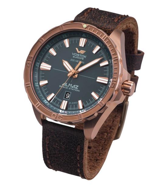 Vostok-Europe Almaz Bronze Automatic Leather Strap Watch NH35/320O507
