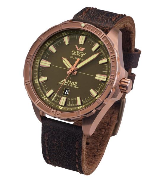Vostok-Europe Almaz Bronze Automatic Leather Strap Watch NH35A/320O516