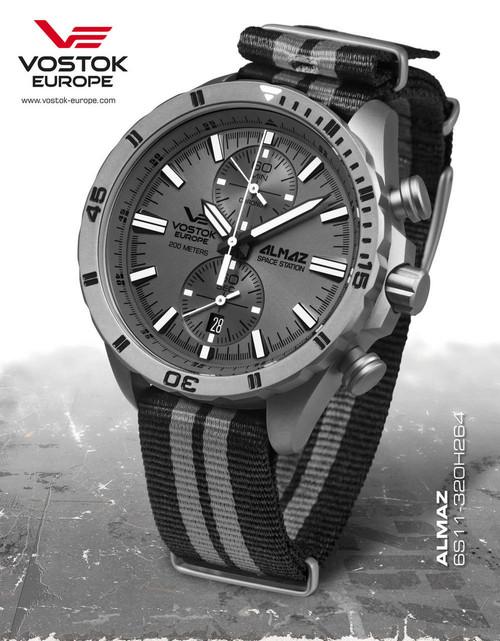Vostok-Europe Almaz Titanium Chronograph NATO Strap 6S11/320H264N
