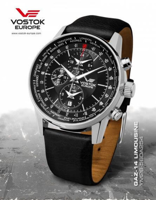 Vostok-Europe Gaz-Limo World-Timer Alarm Watch YM26/560A254