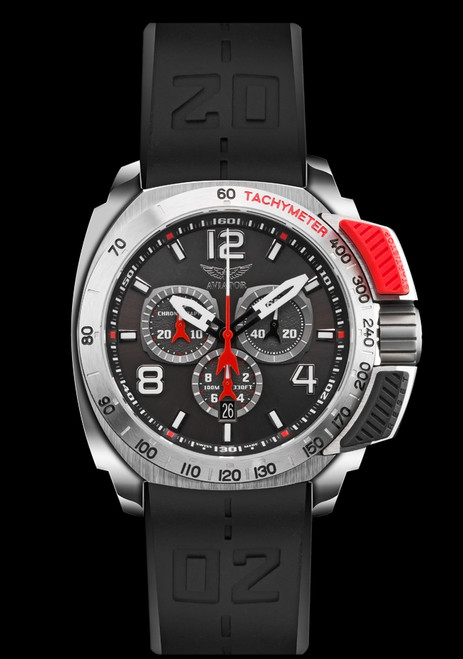 e2c944daf63 Aviator Men s Professional Top Pusher Swiss Made Chrono Watch with 2 Straps  Red