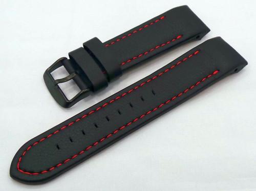 Vostok Europe Almaz Leather Strap 22mm Black/Red-Alm.22.L.B.Bk.R