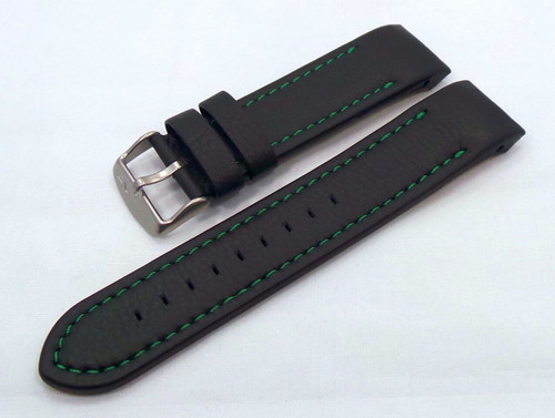 Vostok Europe Anchar Leather Strap 24mm Black/Green-Anc.24.L.M.Bk.G