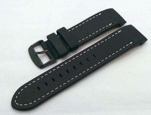Vostok Europe Anchar Leather Strap 24mm Black/White-Anc.24.L.B.Bk.W