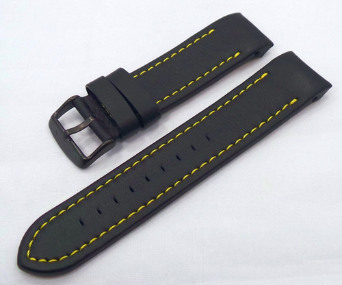 Vostok Europe Anchar Leather Strap 24mm Black/Yellow-Anc.24.L.B.Bk.Y
