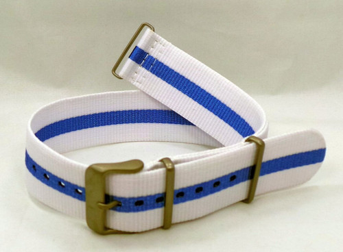 Vostok Europe Expedition North Pole NATO Ballistic Nylon Strap 24mm White/Blue-Exp.24.N.M.W.Bu