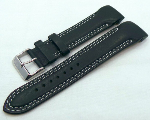 Vostok Europe N1 Rocket-Radio Room Leather Strap 22mm Black/White-N1RR.22.L.S.Bk.W