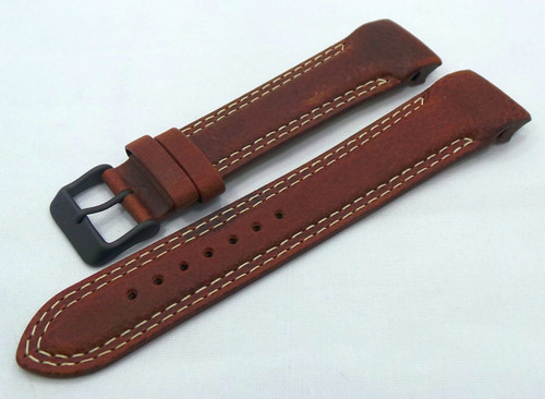 Vostok Europe N1 Rocket-Radio Room Leather Strap 22mm Brown/White-N1RR.22.L.B.Br.W