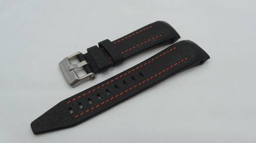 Vostok Europe Lunokhod Leather Strap 25mm Black/Orange-Lun.25.L.M.Bk.O