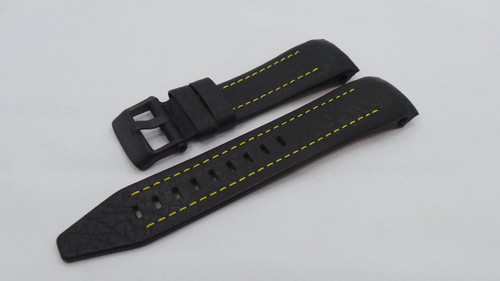 Vostok Europe Lunokhod Leather Strap 25mm Black/Yellow-Lun.25.L.B.Bk.Y