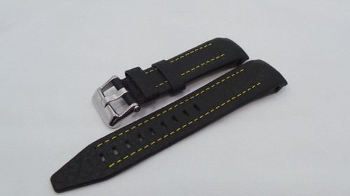 Vostok Europe Lunokhod Leather Strap 25mm Black/Yellow-Lun.25.L.S.Bk.Y