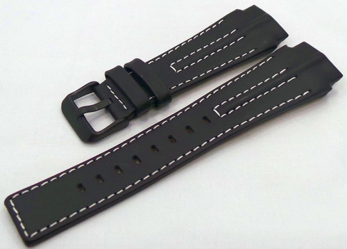 Aviator Leather Strap 22mm Black/White-Avi.22.L.B.Bk.W