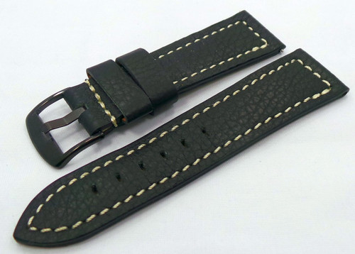 Moscow Classic Leather Strap 24mm Black/White-MC.24.L.B.Bk.W