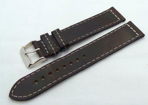 Poljot Leather Strap 20mm Dark Brown/White-Pol.20.L.S.Db.W