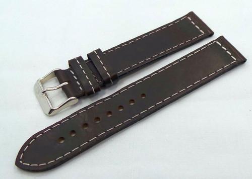 Poljot Leather Strap 20mm Dark Brown/White-Pol.20.L.S.Db.W