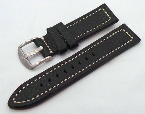 Uniq Leather Strap 22mm Black/White-Unq.22.L.M.Bk.W