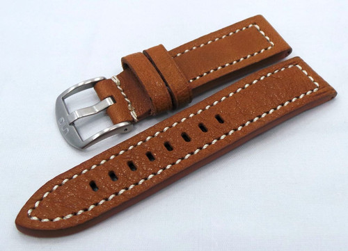 Uniq Leather Strap 22mm Light Brown/White-Unq.22.L.M.Lb.W