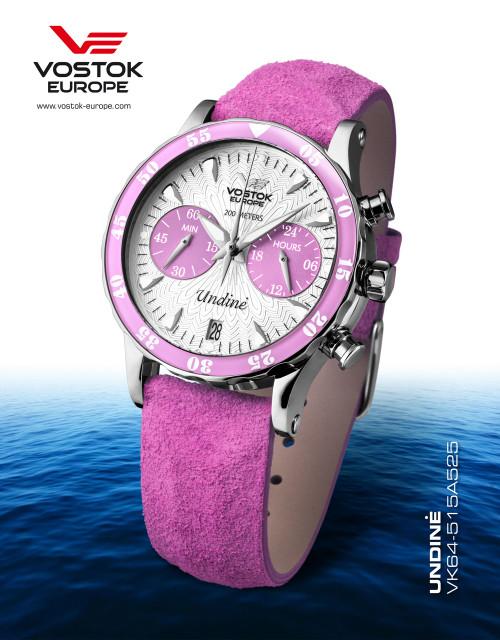 Vostok-Europe Undine Pink Ladies Chronograph Watch VK64/515A525
