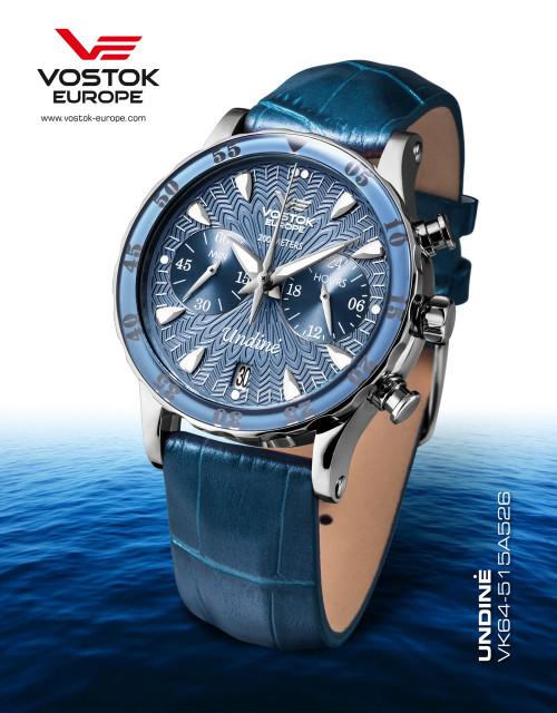Vostok-Europe Undine Blue Ladies Chronograph Watch VK64/515A526