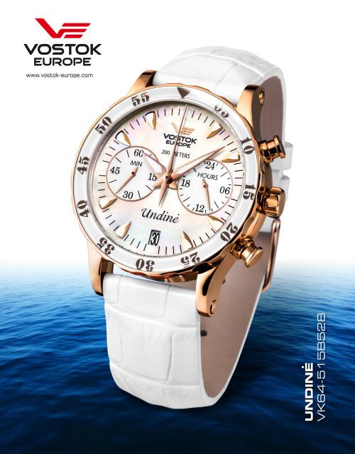 Vostok-Europe Undine White Ladies Chronograph Watch VK64/515B528