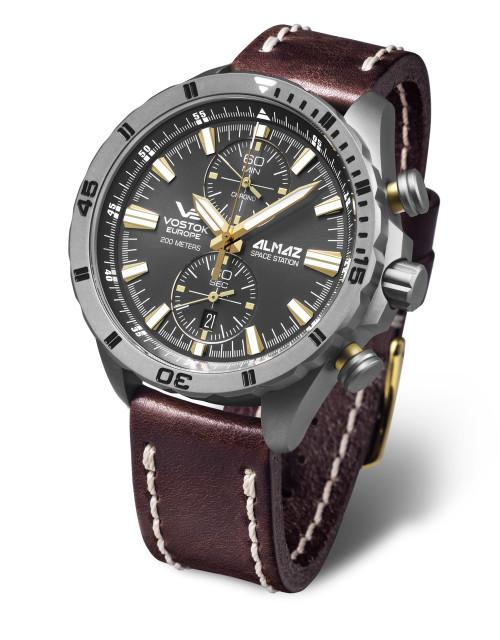 Vostok-Europe Almaz Titanium Chronograph Leather Strap 6S11/320H521