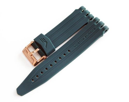 Vostok Europe Energia Silicon Strap 26mm Blue with Rose Gold Stainless hardware