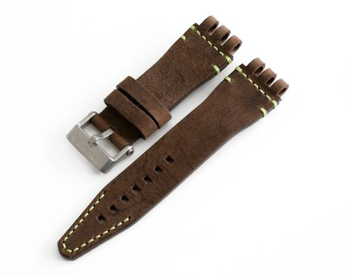 Vostok Europe Energia-2 Leather Strap 26mm Brown with Green Stitching
