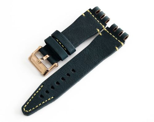 Vostok Europe Energia-2 Leather Strap 26mm Blue with Yellow Stitching