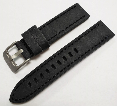 Vostok Europe Almaz Leather Strap 22mm Black with Matte Hardware