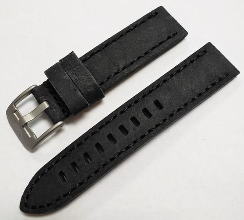 Vostok Europe Almaz Leather Strap 22mm Black with Matte Hardware