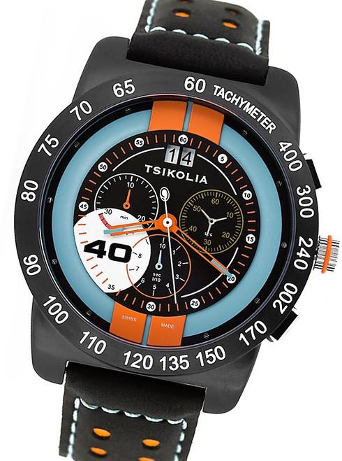 Tsikolia Swiss Racing Chronograph Watch Black