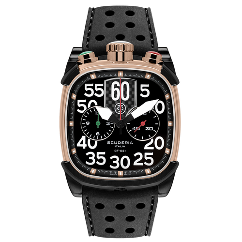 CT Scuderia Rose Gold IP Stainless Steel and Black Silicon Strap