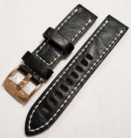 Vostok Europe Almaz Leather Strap 22mm Black/White-Alm.22.L.R.Bk.W