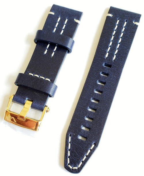 Vostok Europe Sea-Monster Leather Strap 25mm Blue/White with Gold Buckle