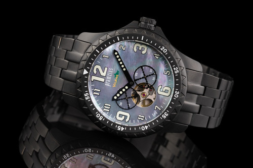 Iron Wolf Mother of Pearl Military Open Heart Watch P714301