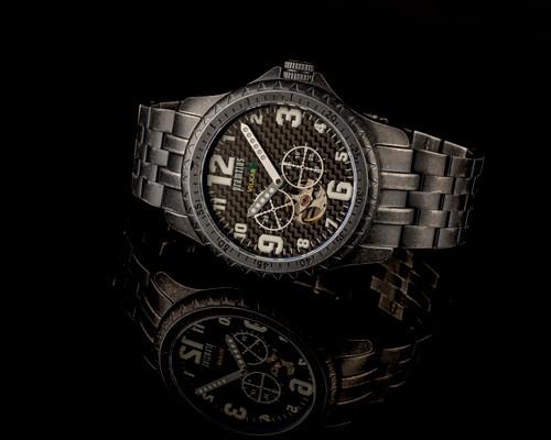 Iron Wolf Carbon Fiber Military Open Heart Watch P715306