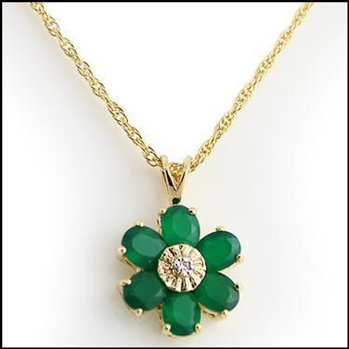 Ladies' Emerald and Diamond Gold Pendant