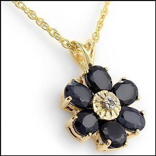 Ladies' Sapphire and Diamond Gold Pendant