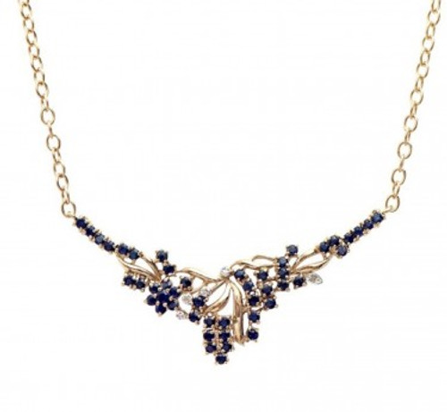 Ladies' Sapphire and Diamond Gold Necklace